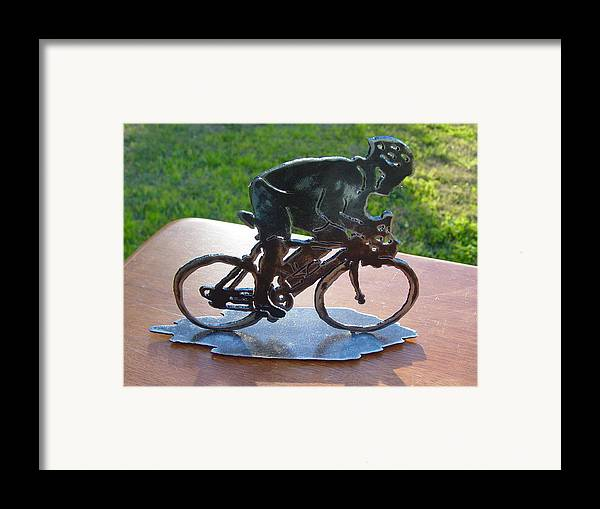 Steel Framed Print featuring the sculpture Road Race by Steve Mudge