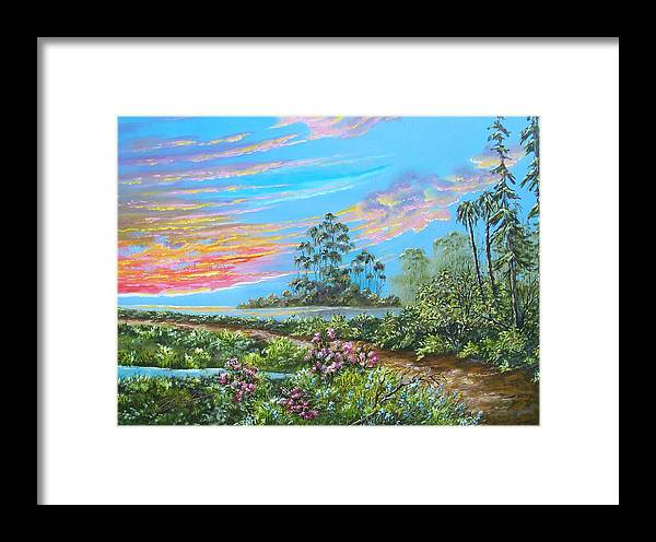 Landscape Framed Print featuring the painting Road To Happiness by Dennis Vebert