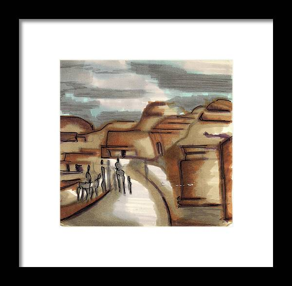 Framed Print featuring the painting Road To Petra by Popa Andreea