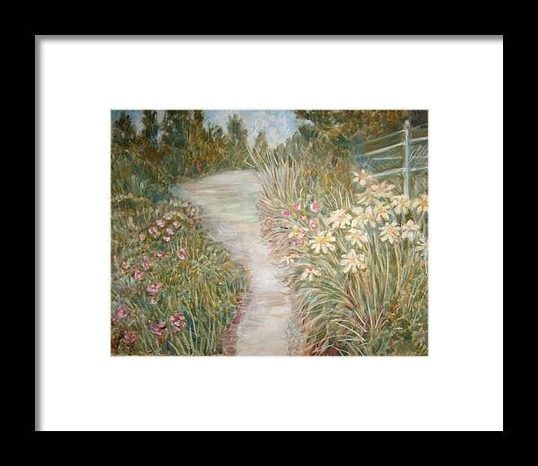 Landscape Flowers Bushes Trees Fence Framed Print featuring the painting Road To Sebago by Joseph Sandora Jr