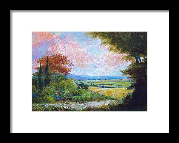 Landscape Framed Print featuring the painting Road To The Fields by Dale Witherow
