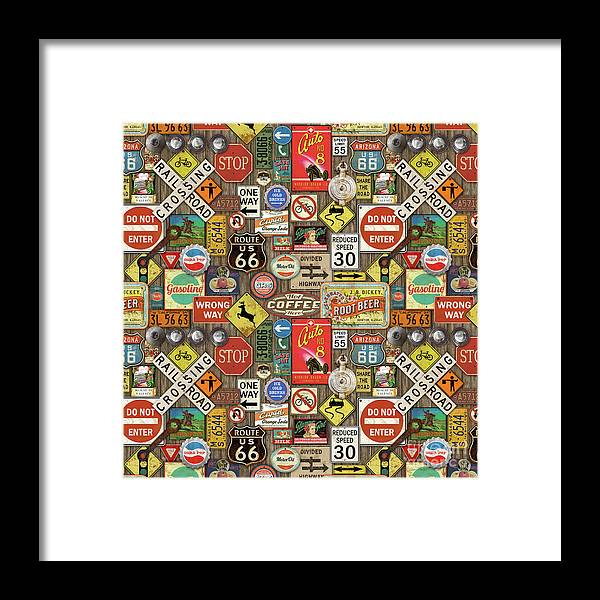 Route 66 Framed Print featuring the painting Roads Signs On Wood-jp3958-b by Jean Plout