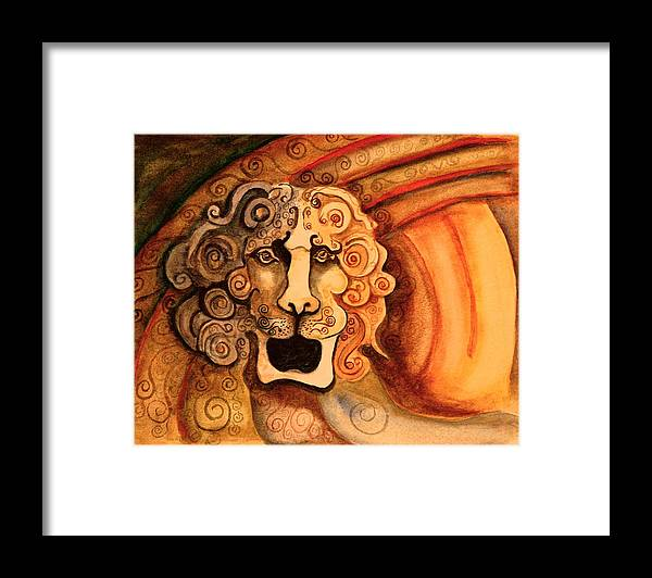 Sketch Framed Print featuring the painting Roaring Lion by Dan Earle