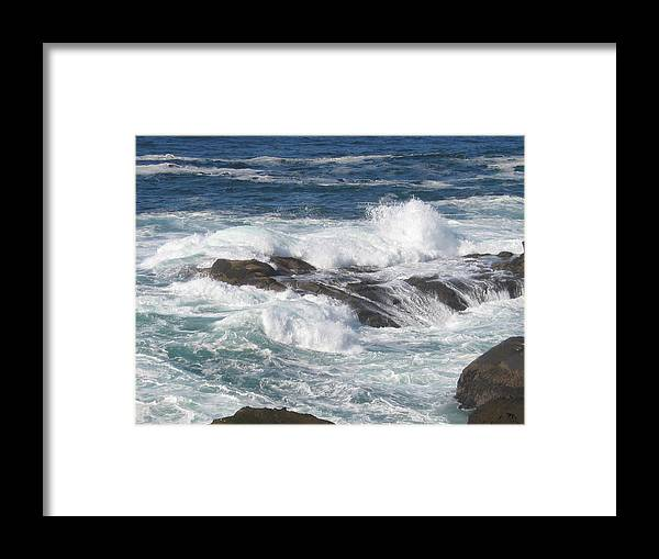 Framed Print featuring the digital art Roaring Water by Barb Morton
