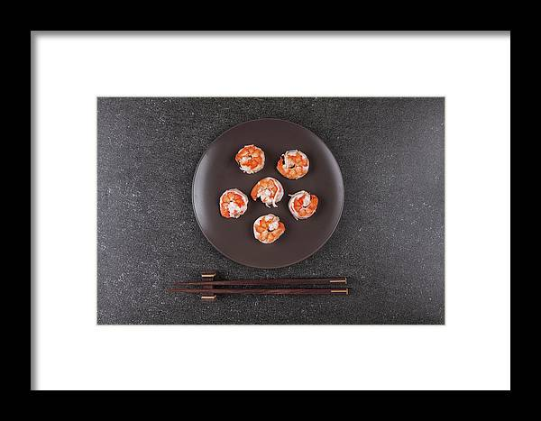 Prawn Framed Print featuring the photograph Roasted Shrimps Served On Plate by Ipolyphoto Art