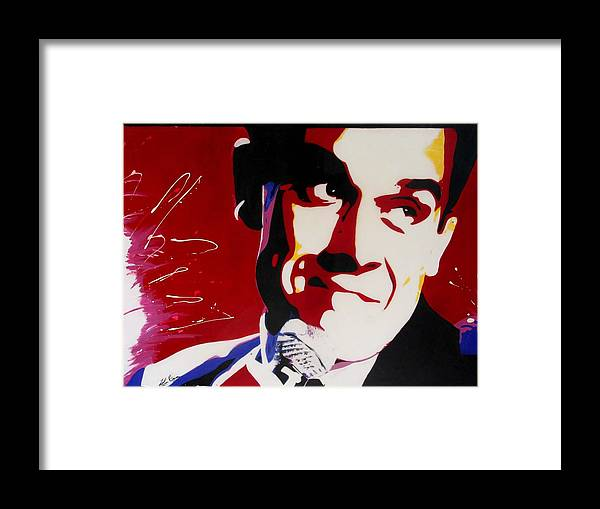 Robbie Williams Framed Print featuring the painting Robbie Williams by Karen Elzinga