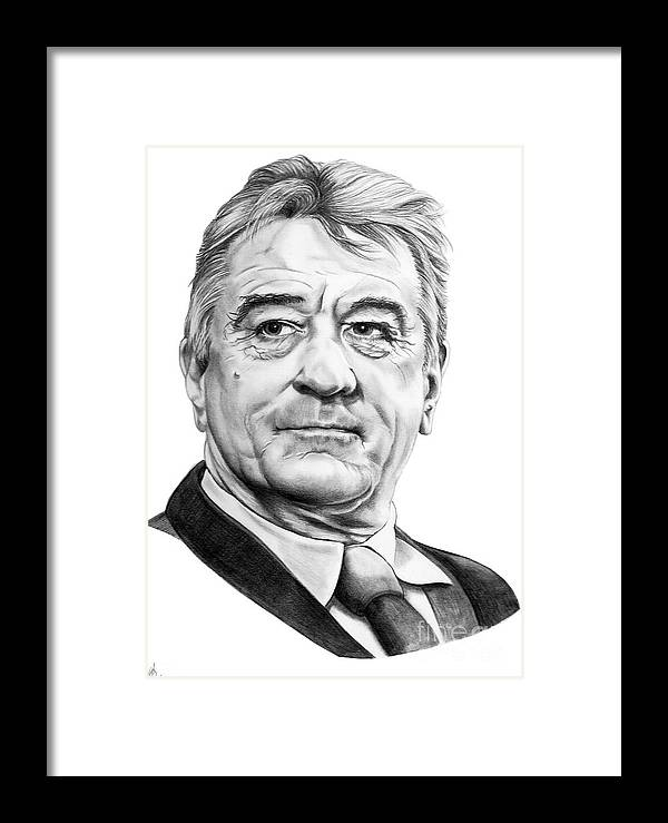 Pencil Framed Print featuring the drawing Robert Deniro by Murphy Elliott