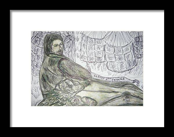 Gothic Romantic Hero From Poem Man Pre Raphaelite William Morris Victorian Art Framed Print featuring the drawing Robert From Poem Haystacks In The Flood by Adrianne Wood