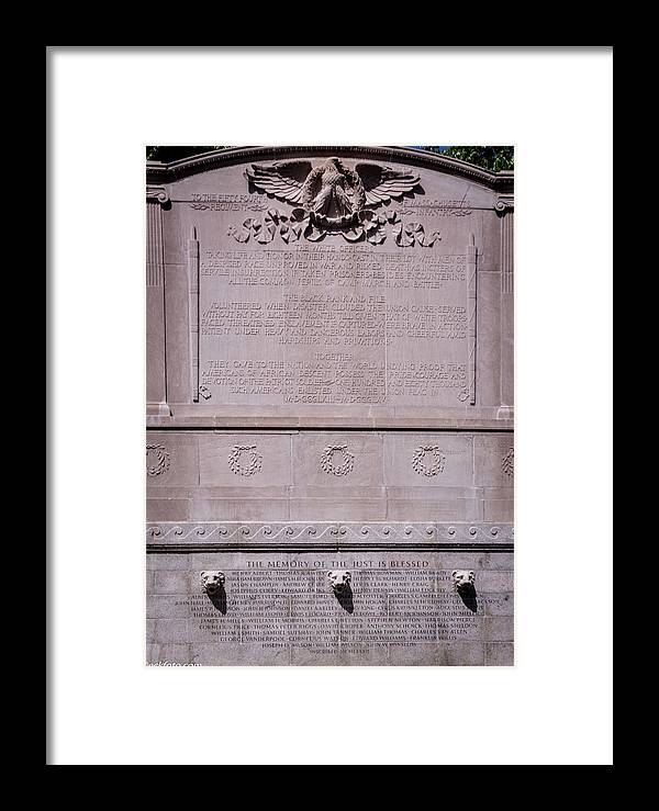 Robert Gould Shaw Monument - Back Side Eckfoto Boston Freedom Trail Framed Print featuring the photograph 7- Robert Gould Shaw Monument - Back Side Eckfoto Boston Freedom Trail by Jean-Louis Eck