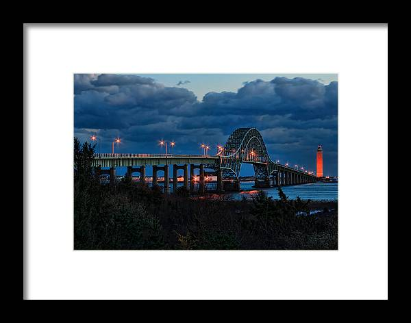 Robert Moses Framed Print featuring the photograph Robert Moses Bridge At Dusk by I Cale