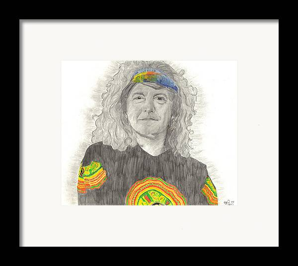 Robert Plant Framed Print featuring the drawing Robert Plant by Bari Titen