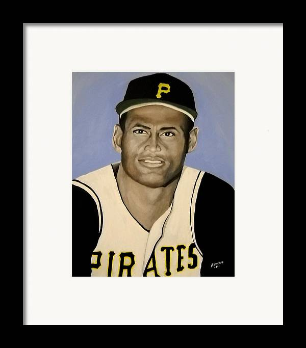 Roberto Framed Print featuring the painting Roberto Clemente by Edwin Alverio
