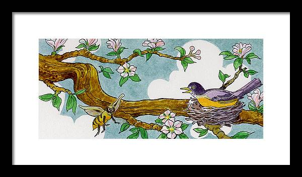 Birds Framed Print featuring the painting Robin Nest by Lash Larue