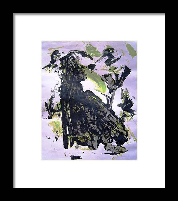 Abstract Framed Print featuring the painting Robot Breaking Up by Bruce Combs - REACH BEYOND