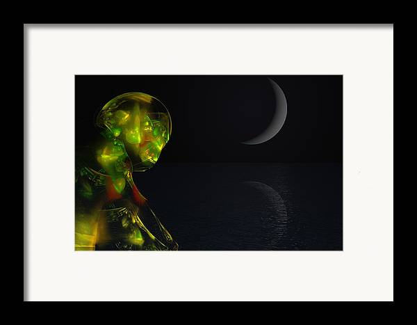Abstract Digital Painting Framed Print featuring the digital art Robot Moonlight Serenade by David Lane