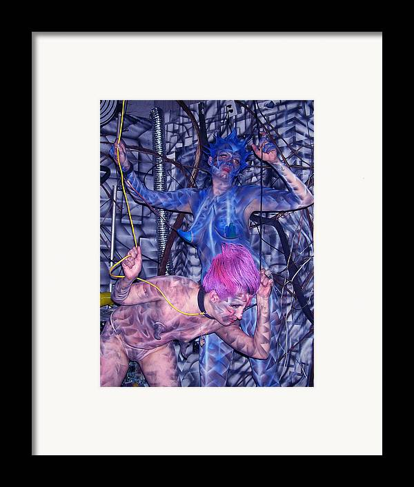 Body Paint Framed Print featuring the painting Robotic Blues by Leigh Odom