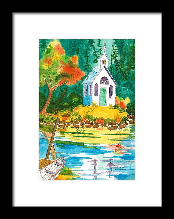 Chapel Framed Print featuring the painting Roche Harbor Chapel by Buster Dight