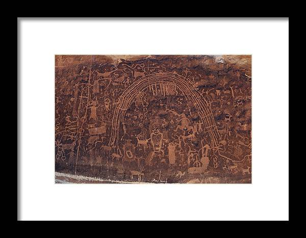 Petroglyph Panel Framed Print featuring the photograph Rochester Rainbow Detail by Kathleen Bishop