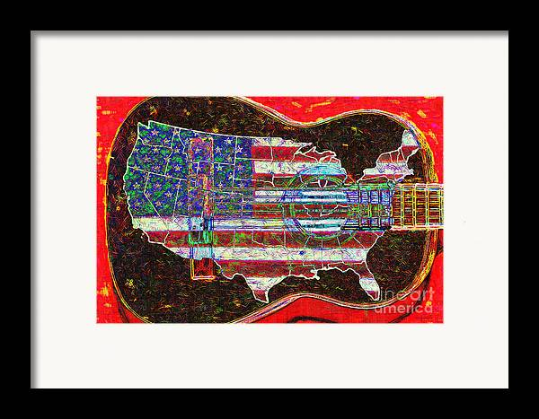 Music Framed Print featuring the photograph Rock And Roll America 20130123 Red by Wingsdomain Art and Photography
