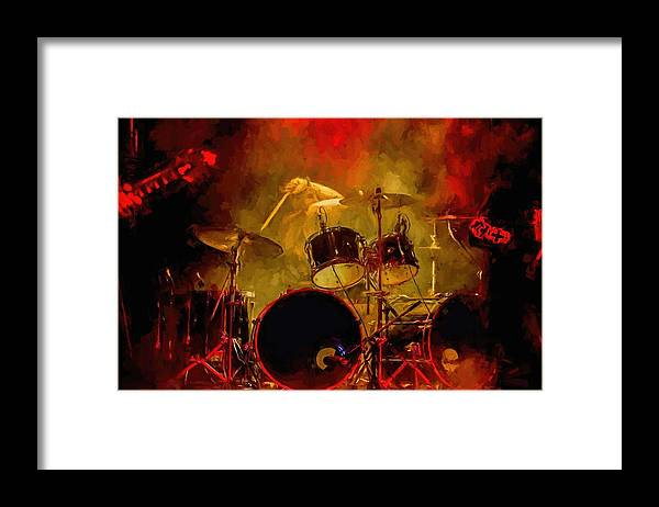 Rock And Roll Drum Solo # Rock And Roll # Drum Set # Rock And Roll Drum Paintings # Abstract Music Art # Zildjian # Drum Solo Painting # Concert # Smoke # Fog # Framed Print featuring the digital art Rock And Roll Drum Solo by Louis Ferreira