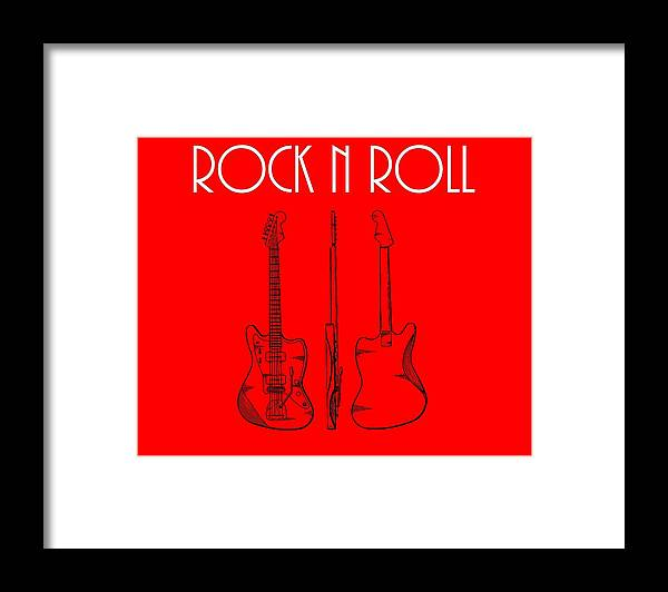 Rock And Roll Poster Framed Print featuring the digital art Rock And Roll Poster by Dan Sproul