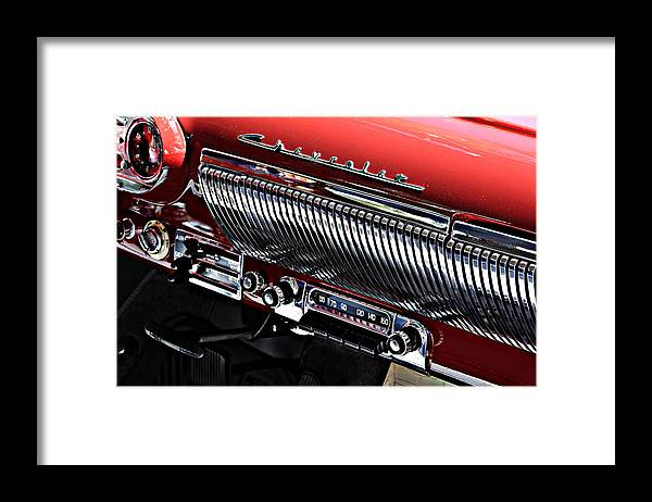 Industrial Art Framed Print featuring the photograph Rock Around The Clock -- 1954 Bel Air Radio At The Golden State Classic Car Show, Paso Robles Ca by Darin Volpe