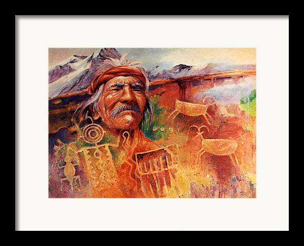 Indian Framed Print featuring the painting Rock Art by Don Trout