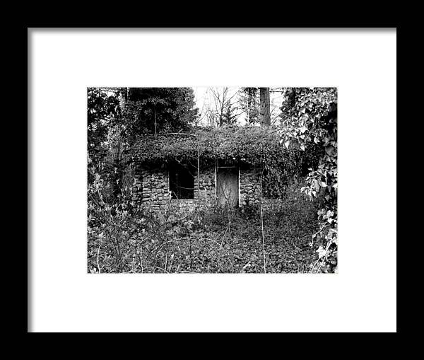 Digital Photography Framed Print featuring the photograph Rock Cabin Black And White by Laurie Kidd