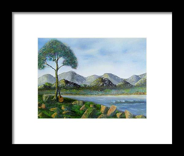 Landscapes Framed Print featuring the painting Rock Concert by Tony Rodriguez