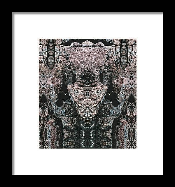 Rocks Framed Print featuring the digital art Rock Gods Elephant Stonemen Of Ogunquit by Nancy Griswold
