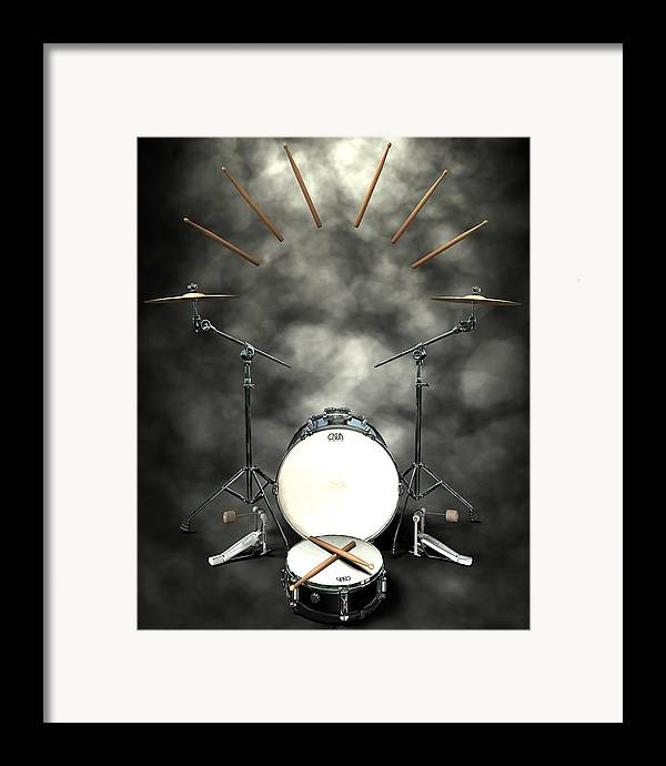 Rock N Roll Framed Print featuring the digital art Rock N Roll Crest-the Drummer by Frederico Borges