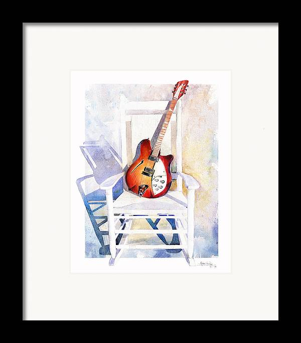 Guitar Framed Print featuring the painting Rock On by Andrew King