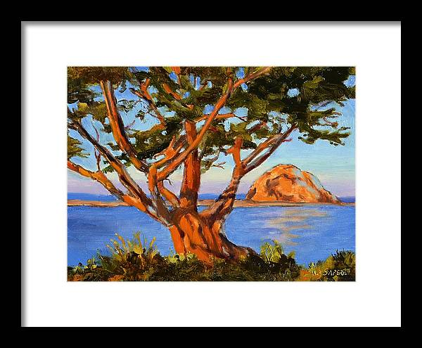 Morro Bay Framed Print featuring the painting Rock Reflection - Morro Bay by Lynee Sapere