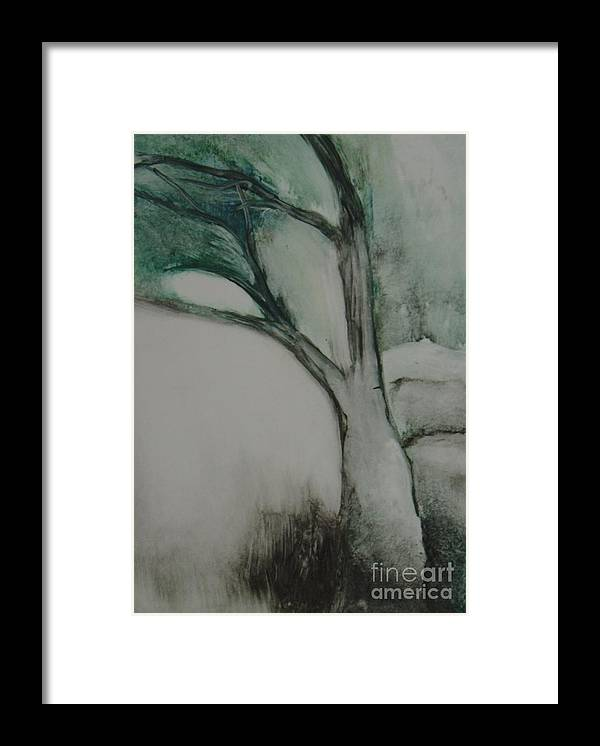 Monoprint Tree Rock Trees Framed Print featuring the painting Rock Tree by Leila Atkinson