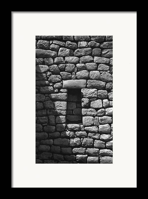 Machu Picchu Framed Print featuring the photograph Rock Window Shadow by Marcus Best
