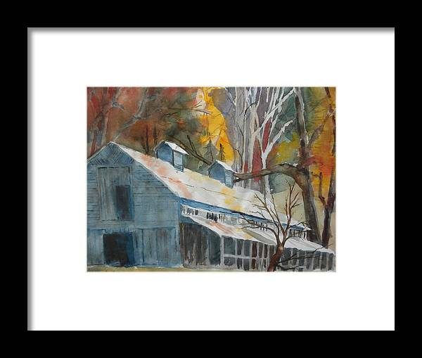 Landscape Framed Print featuring the painting Rockbrook Camp Barn by Kris Dixon