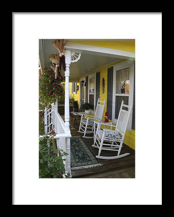 Rocking Chair Framed Print featuring the photograph Rockers on the Porch by Margie Wildblood
