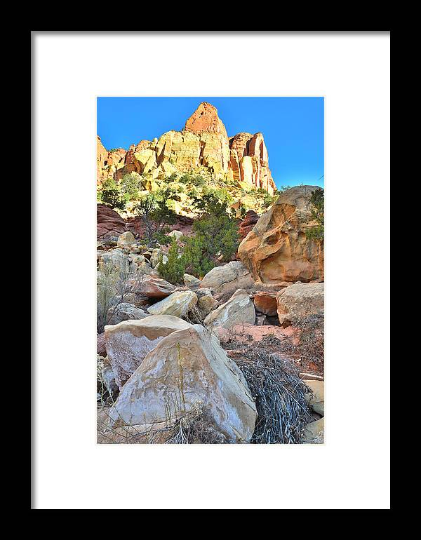 Grand Staircase Escalante National Monument Framed Print featuring the photograph Rockfall by Ray Mathis