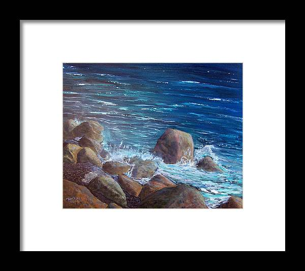 Seascape Framed Print featuring the painting Rocks and Rolls by Tony Rodriguez