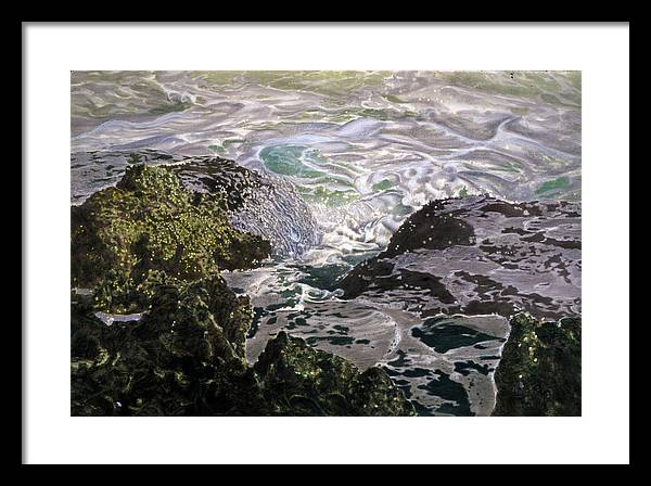 Seascapes Framed Print featuring the pastel Rocks And Sea Foam by Olga Spiegel