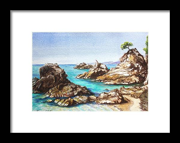 Beach Framed Print featuring the painting Rocks At Kalamaki by Yvonne Ayoub
