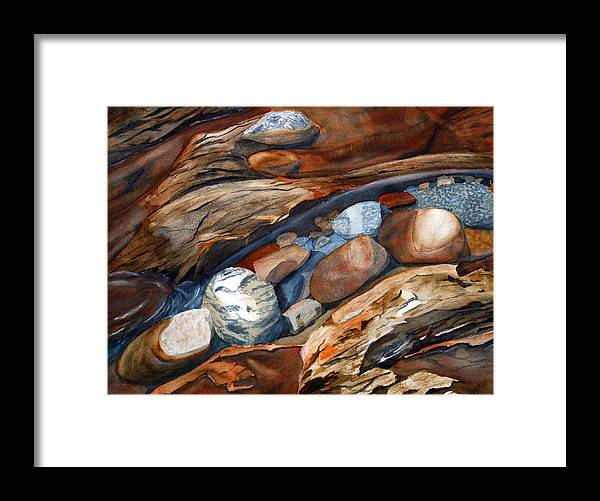 Rocks Framed Print featuring the painting Rocks by Julie Pflanzer