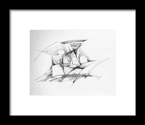 Rocks Framed Print featuring the drawing Rockscape 2 by Padamvir Singh
