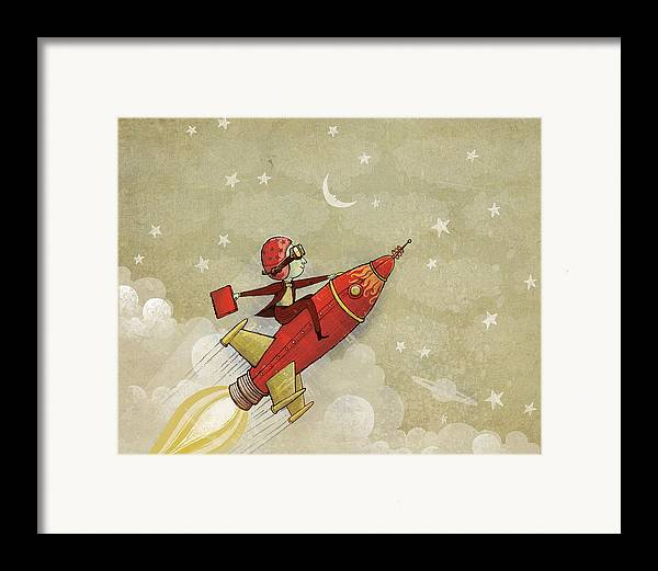 Rocket Framed Print featuring the digital art Rockship by Dennis Wunsch