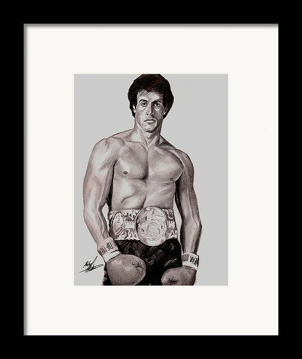 Rocky Framed Print featuring the drawing Rocky 3 by Michael Mestas