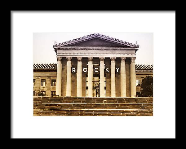 Rocky Framed Print featuring the photograph Rocky Balboa On The Art Museum Steps by Bill Cannon