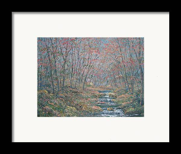 Painting Framed Print featuring the painting Rocky Forest. by Leonard Holland