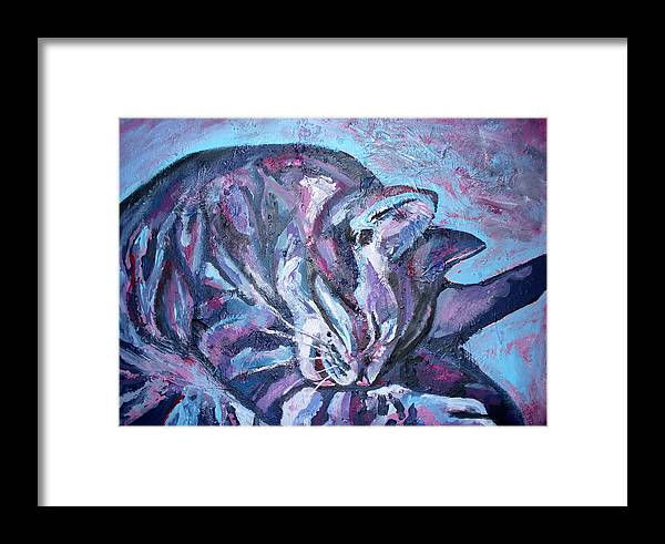 Wash Framed Print featuring the painting Rocky In Blue by Sarah Crumpler