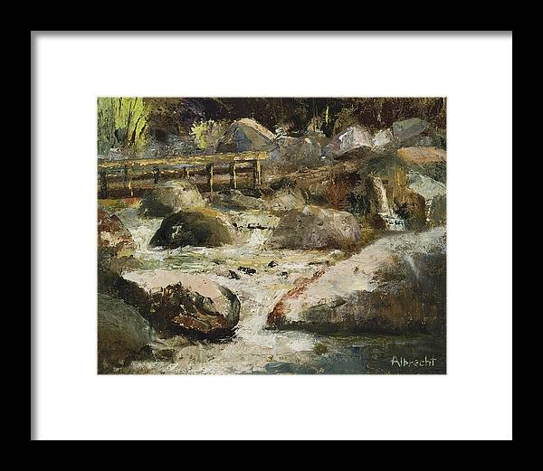 Plein Air Painting Framed Print featuring the painting Rocky Mountain National Park by Nancy Albrecht