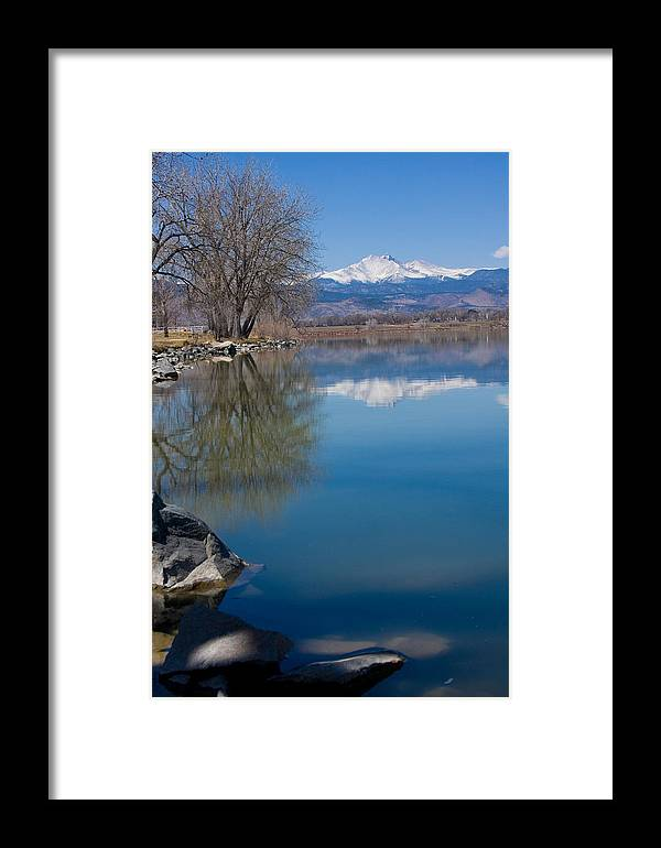 Twin Peeks Framed Print featuring the photograph Rocky Mountain Reflections by James BO Insogna
